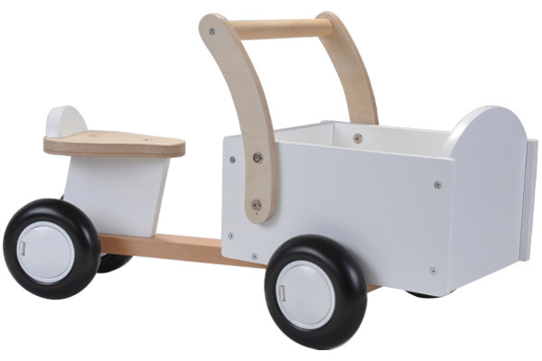 Houten bakfiets little rider white