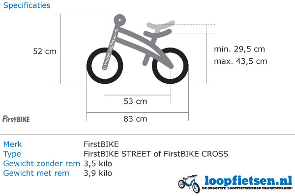 Specificaties FirstBike cross zilver.
