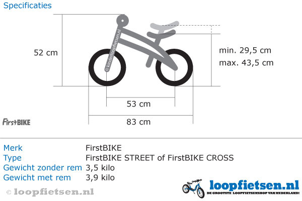 Specificaties FirstBike Street roze.